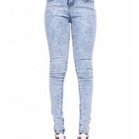 ACID WASH HIGH RISE JEANS
