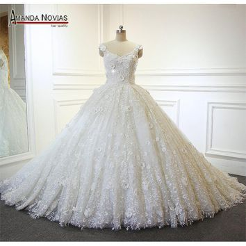 2017 New Arrival Beautiful Overlay Lace Ball Gown Wedding Dress Amanda Novias Real Photos