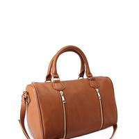 Faux Leather Zippered Satchel