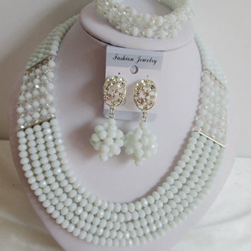Amazing nigerian wedding african beads jewelry set crystal White Clear AB necklaces button stud earrings NC2109