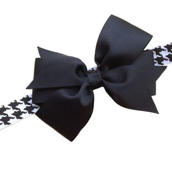 ON SALE 20% OFF Houndstooth headband with black bow- black baby headband, black newborn headband
