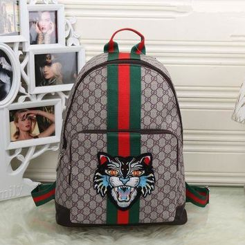 ESBON Gucci' Unisex Casual Personality Fashion Classic Print Multicolor Stripe Cat Head Embroidery Backpack Large Capacity Travel Double Shoulder Bag