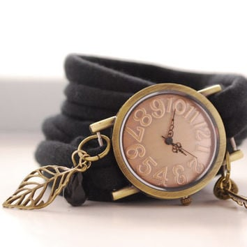Endless Wrap Watch Antique Bronze Watch Bracelet Black Cuff Filigree Leaf Bracelet Fashion accessory Women Teens Wrist Tattoo Cover