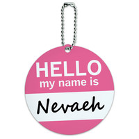 Nevaeh Hello My Name Is Round ID Card Luggage Tag