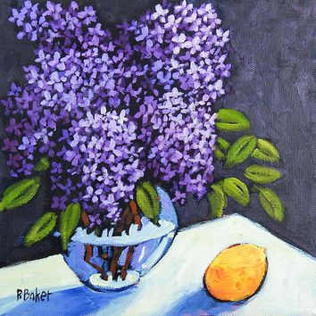 Lilacs & Lemon Still Life Painting by Patty Baker