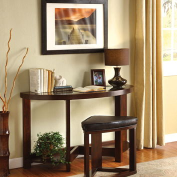 Furniture of america CM4321S Crystal cove ii contemporary styling dark walnut finish wood entry console sofa table with wedge shaped stool
