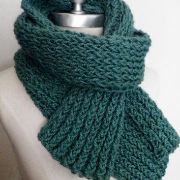 Knit Scarf Dark Aqua Seafoam Green Knit Scarf, Fashion Knitwear, Fall Essentials
