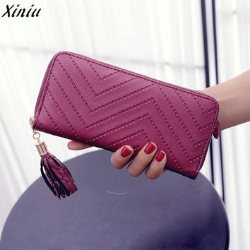 Women Wallet Lady Solid Color Leather Geometric Long Clutch Wallet Bag Tassel Vintage Purse Carteira Feminina Pequena #9704
