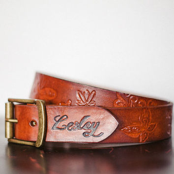 ADD Hand Tooled Initials or Name to the End of Any Custom Leather Belt / Monogrammed / Personalized