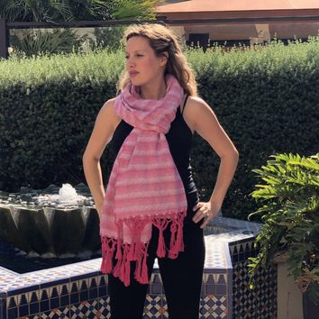 Mexican Rebozo Shawl - Strawberry Love