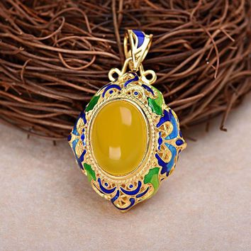 Cloisonne Enamel Yellow Natural Oval Chalcedony 925 Silver Pendant