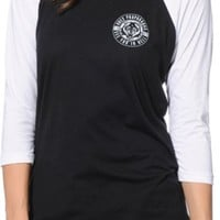 Obey Wolf Patch Black & White Baseball Tee