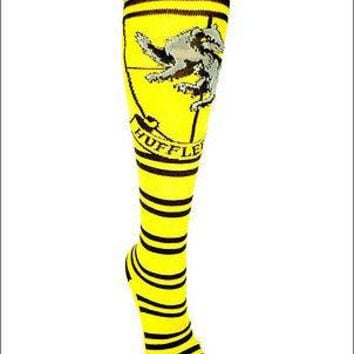 Harry Potter Hufflepuff Crest Cosplay Costume Long Knee High Boot Striped Socks