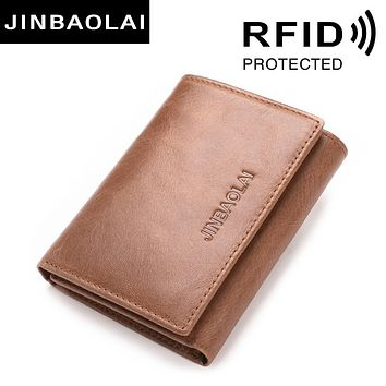 RAID Genuine Leather Wallets 3 Fold Soft Male Purse 2 Color Leather Handmade Wallets Credit Card Holder Carter Purses Bags