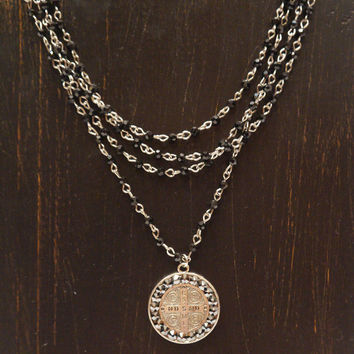 Pink Panache Coin Cross Necklace