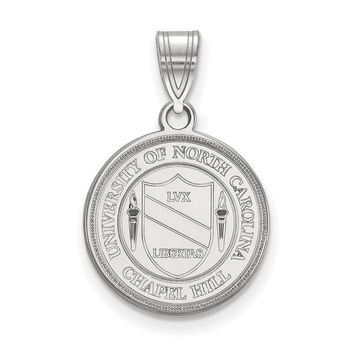 NCAA Sterling Silver North Carolina Medium Crest Pendant Necklace