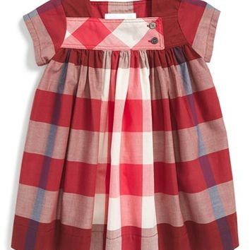 Infant Girl's Burberry 'Paisley' Check Cotton Dress,