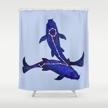 Astrological sign pisces constellation Shower Curtain by savousepate