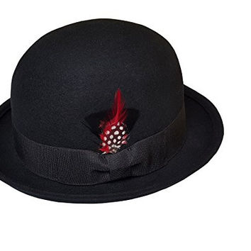 Men's 100% Wool Felt Derby Bowler with 2 Removable Feather Fedora Hats (L/XL, Black)