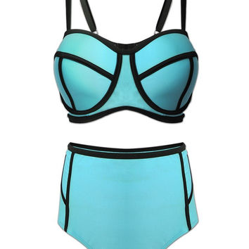 Plus Size Women Sexy Neoprene Bikini Sets High Waist Bathing Suit Swimwear