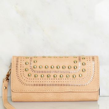 Studded Faux Leather Wallet Tan