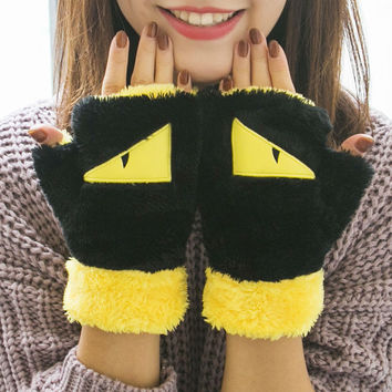 2016 new winter gloves women warm Mittens fingerless glove fashion girl animals fluffy bear cat plush paw claw soft half covered