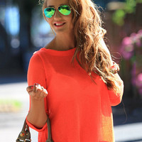 Half Sleeve Backless Chiffon T-shirt