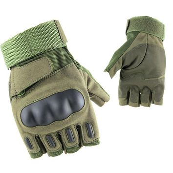 Fingerless Military Armed Gloves Hard Knuckle Protective Combat Gloves Hunting Tactical Gloves Camping Hiking Men Gloves
