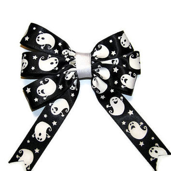 Halloween Black with Ghost Triple Hair Bow with Tails, Hair Accessories for Girls