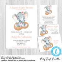 Elephant Baby Shower Set, Invitation, Girl, Template, Diaper Raffle, Book Request Card, Thank you Cards, Editable, Elephant Invites ELPP