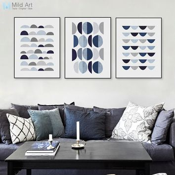 Modern Abstract Blue Geometric Shape A4 Art Print Poster Minimalist Hipster Wall Art Picture Nordic Home Decor Painting Custom