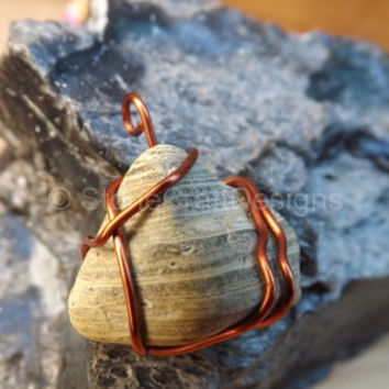 Green Grey Pyramid Shaped Stone Pendant Copper Wire Wrapped Handcrafted Necklace Charm Healing Piece Gray Limestone Neck Chain Pisces Sign