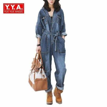 ONETOW Vintage Women Loose Fit Casual Bodysuits Female Belt Sashes Denim Jean Jumpsuits European Overalls For 4 Season Big Pockets Blue