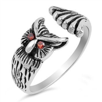 925 Sterling Silver CZ Simulated Garnet Owl Split 10MM Ring