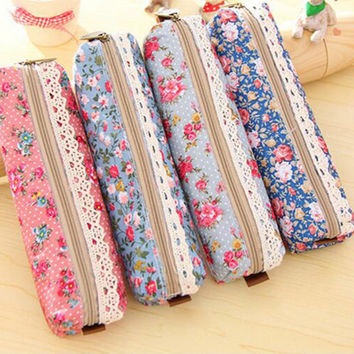New 2014 Korean Floral Dot Canvas Big Capacity Pencil Bag School Pencil Case School Supplies