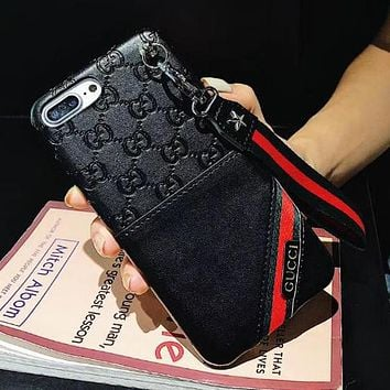 GUCCI Classic Popular Women Men Leather Mobile Phone Cover Case For iphone 6 6s 6plus 6s-plus 7 7plus 8 8plus X Black