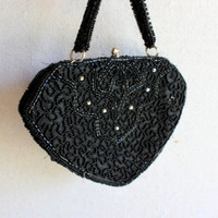 black beaded evening bag rhinestone mid-century cocktail purse handle