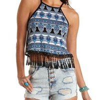 Racer Front Fringe Cop Top by Charlotte Russe
