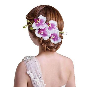 Orchids Floral Hair Clip Women Hair Accessories