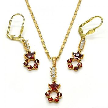 Gold Layered Necklace and Earring, Star Design, with Cubic Zirconia, Golden Tone