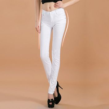 Fashion Slim Show Thin Candy Color Pencil Denim Pants  Women  Solid Color Casual Carry Buttock Jeans