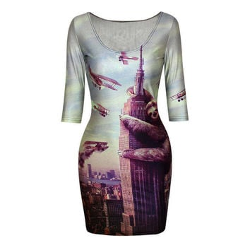 Slothzilla Sloth Climbing Empire State Building Printed Crew Neck Bodycon Dress DR-15