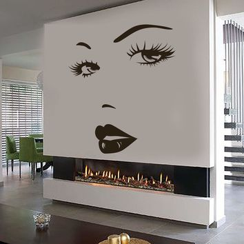 Eyes Wall Sticker Vinyl Decal Beauty Salon Woman Face Lips Girl Room Unique Gift (ig3642)