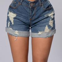 Shane Boyfriend Shorts - Dark Stone Wash