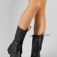 Harley-10 Studded Spike Military Lace Up Boot