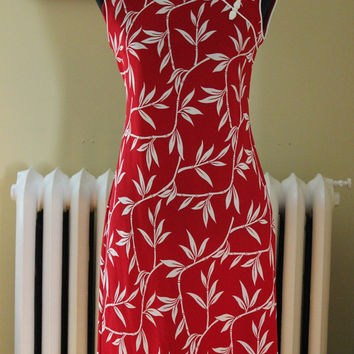 Vintage Dress 90s Asian Bamboo Deep Red Form Fitting Dress Small Med