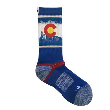 Strideline 2.0 Denver Colorado Mountain Flag Crew socks