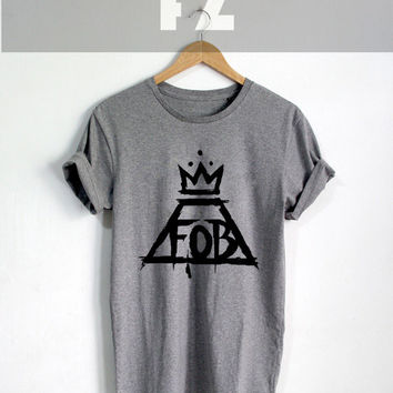 Official Fall Out Boy Shirt FOB Logo Shirt T-shirt Tee Shirt Grey Color Unisex Size - NK77