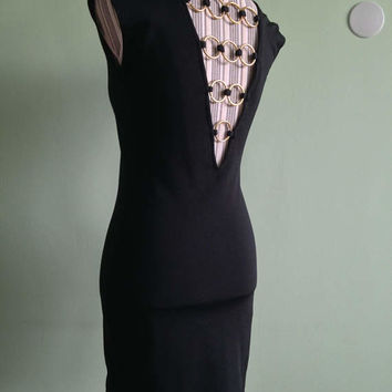 Cut Out Back Bodycon Dress, Back V Neck Sexy Back Dress, Open Back Evening Dress, Black and Gold Mini Dress, Low Back Party Dress, Size S