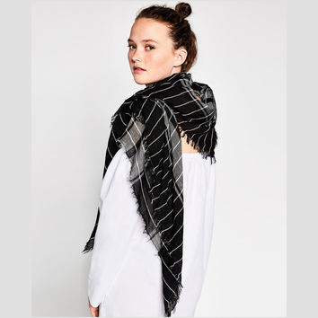 Stripes Plaid Winter King Size Scarf [8924836294]